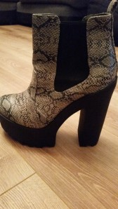 Platform ankle boots in snake print with cleated soles. Bought very recently from Primark. I'm obsessed with these shoes!!!